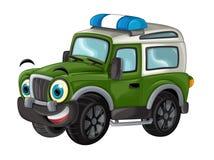 Karikatur glücklich und lustig weg vom Straßenmilitär-LKW/von lächelndem Fahrzeug vektor abbildung
