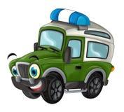 Karikatur glücklich und lustig weg vom Straßenmilitär-LKW/von lächelndem Fahrzeug lizenzfreie abbildung