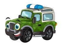 Karikatur glücklich und lustig weg vom Straßenmilitär-LKW/von lächelndem Fahrzeug stock abbildung