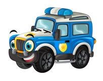 Karikatur glücklich und lustig weg vom Straßenpolizei-LKW/von lächelndem Fahrzeug stock abbildung