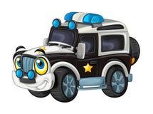 Karikatur glücklich und lustig weg vom Straßenpolizei-LKW/von lächelndem Fahrzeug lizenzfreie abbildung