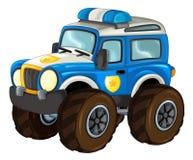 Karikatur glücklich und lustig weg vom Straßenpolizeiwagen, der wie Monstertruck/Fahrzeug aussieht vektor abbildung