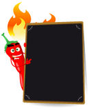 Karikatur-glühendes Paprika-Pfeffer-Menü Stockbild