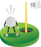 Karikatur-Golfball am letzten Loch Lizenzfreies Stockbild