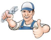 Karikatur greift herauf Mechaniker oder Klempner ab Stockfotos
