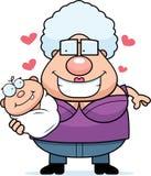 Karikatur-Großmutter, die ein Baby liebt Stockbild