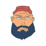 Karikatur-grobes Mann-Gesicht mit Bart und Red Hat Vektor Stockfoto