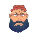 Karikatur-grobes Mann-Gesicht mit Bart und Red Hat Vektor Lizenzfreie Stockfotos