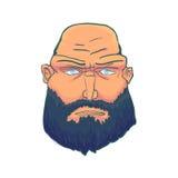 Karikatur-grobes Mann-Gesicht mit Bart Vektor Lizenzfreies Stockbild