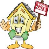 Karikatur-Häuser für Verkaufs-Zeichen Stockbild