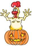 Karikatur-Hahnherausspringen Halloweens lustiges eines Kürbises von einem Kürbis auf einem weißen Hintergrund Stockfotos