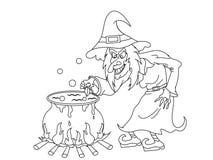 Karikatur-Halloween-Hexe mit Farbton-Seite des großen Kessels vektor abbildung