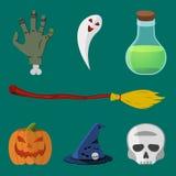 Karikatur-Halloween-Ikonensatz Lizenzfreies Stockbild