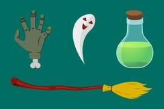 Karikatur-Halloween-Ikonensatz Lizenzfreie Stockfotografie