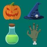 Karikatur-Halloween-Ikonensatz Stockfoto