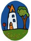 Karikatur-Haus mit Apfelbaum und Mohnblume Stockfotos