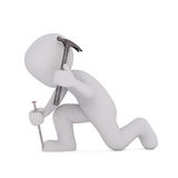 Karikatur-Heimwerker Hitting Large Nail mit Hammer Stockfotos