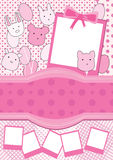 Karikatur Hinauftreiben von Aktienkursen rosafarbenes Foto Frame_eps Lizenzfreies Stockfoto