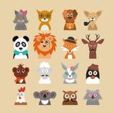Karikatur-Hippie-Tier-Charakter-Ikonen-Satz Vektor stock abbildung