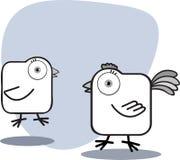 Karikatur-Huhn in Schwarzweiss Stockfotografie