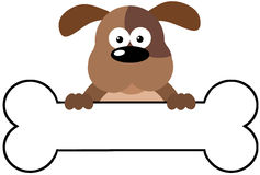 Karikatur-Hund über einer Knochen-Fahne Stockbild
