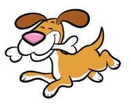 Karikatur-Hund, der mit dem Knochen läuft Stockfotografie