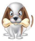Karikatur-Hund und Knochen Stockfotografie