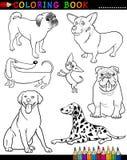 Karikatur-Hunde für Farbton-Buch oder Seite Stockfotos