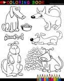 Karikatur-Hunde für Farbton-Buch oder Seite Stockbild