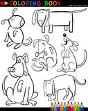 Karikatur-Hunde für Farbton-Buch oder Seite Stockfotografie