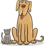 Kleine Katze und große Hundekarikaturillustration Lizenzfreie Stockfotos