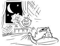 Karikatur-Illustration des Babys schlafend nicht an der Nacht und an Mutter-De vektor abbildung