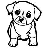 Karikatur-Illustration des lustigen Hundes für Malbuch Stockbild