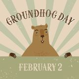 Karikatur-im altem Stil Groundhog Day-Illustration Lizenzfreie Stockbilder