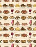 Karikatur-Italien-Nahrungsmittelnahtloses Muster Lizenzfreie Stockfotografie
