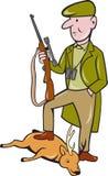 Karikatur-Jäger mit dem Gewehr, das auf Rotwild steht Lizenzfreie Stockfotografie