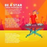 Karikatur jugendlich DJ Junge mit Kugel Junge tragende Kopfhörer DJ und Verkratzen einer Aufzeichnung auf der Drehscheibe vektor abbildung
