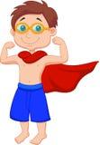 Karikatur-Junge, der vortäuscht, ein Superheld zu sein Lizenzfreie Stockfotografie