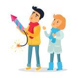 Karikatur-Junge und Mädchen lösten Feuerwerk Rocket aus Stockbild