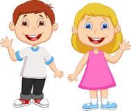 Karikatur-Junge und wellenartig bewegende Hand des Mädchens Stockfoto