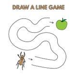 Karikatur-Käfer zeichnen eine Linie Spiel für Kinder lizenzfreie abbildung