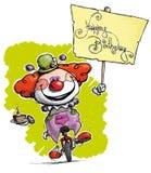 Karikatur-künstlerische Illustration eines Clowns auf Unicyc lizenzfreie abbildung