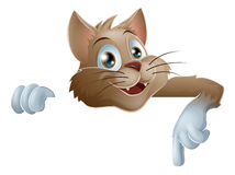 Karikatur-Katze, die unten zeigt Lizenzfreies Stockbild
