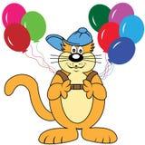 Karikatur-Katze mit Ballonen Stockfotografie