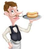 Karikatur-Kellner Butler Holding Hotdog Stockbilder