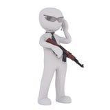 Karikatur-Killer mit Maschinengewehr und Hörmuschel Lizenzfreies Stockbild
