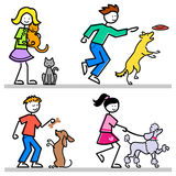 Karikatur-Kinder mit Haustieren Lizenzfreies Stockbild
