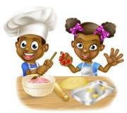 Karikatur-Kinderchef-Kochen Stockfotografie