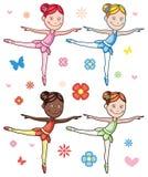 Karikatur-kleines Mädchen-Ballerina-Satz Stockfotos