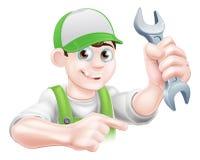 Karikatur-Klempner Pointing Stockbild